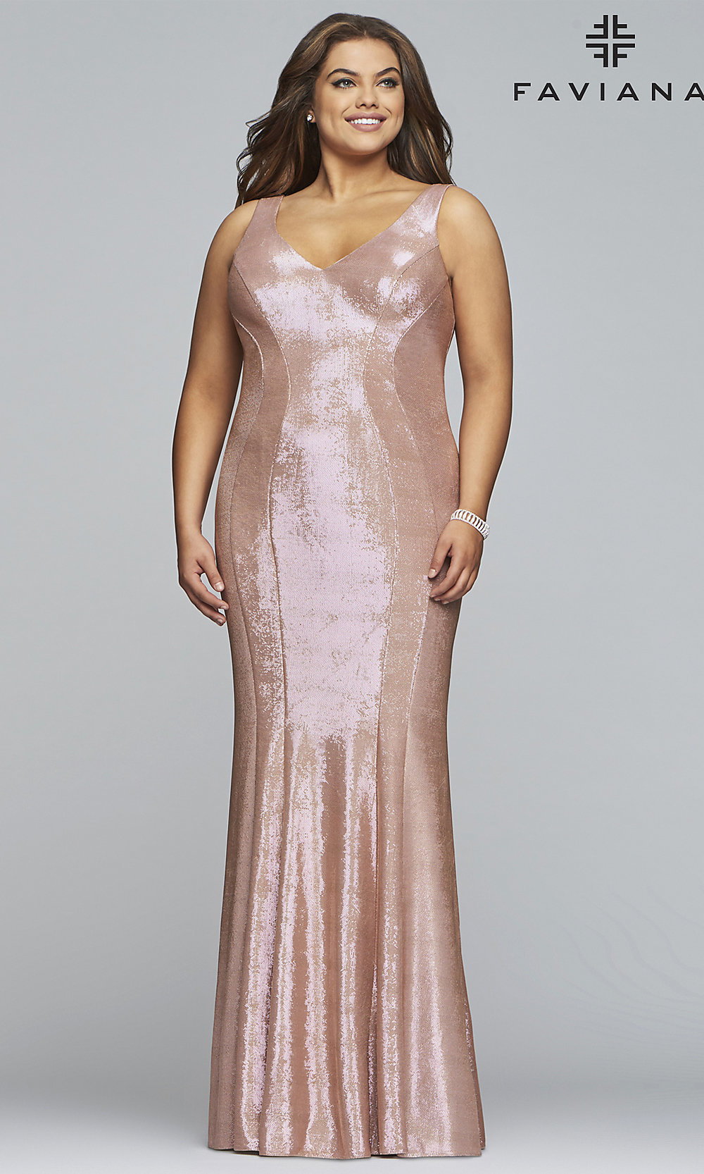 Plus-Size Metallic Rose Gold Long Prom Dress- PromGirl