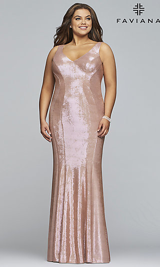 Faviana Plus Metallic Rose Gold Long Prom Dress