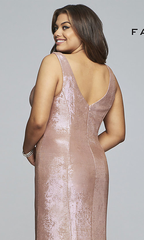 Image of Faviana plus metallic rose gold long prom dress. Style: FA-9453 Detail Image 2