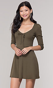 Image of short 3/4-sleeve olive green v-neck party dress. Style: BLU-BD9224 Front Image