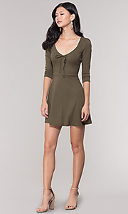 Image of short 3/4-sleeve olive green v-neck party dress. Style: BLU-BD9224 Detail Image 3