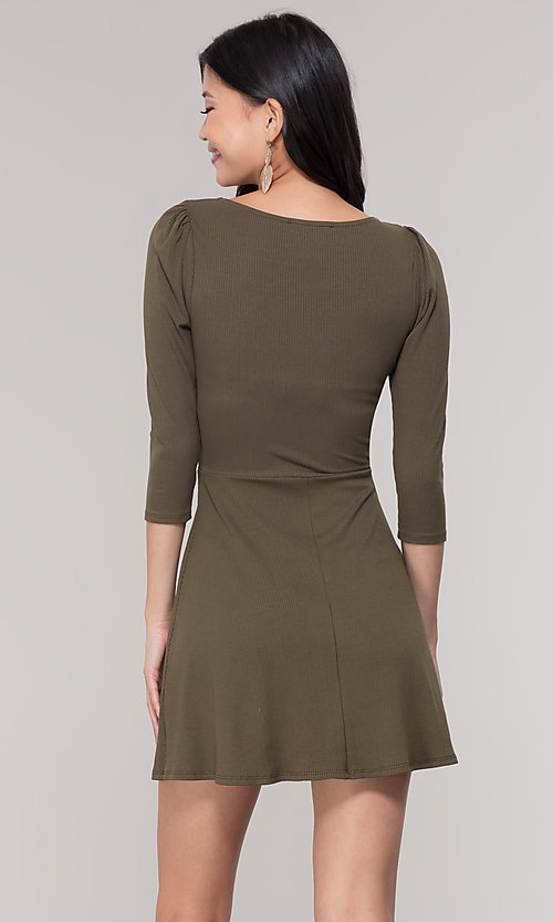 Image of short 3/4-sleeve olive green v-neck party dress. Style: BLU-BD9224 Back Image