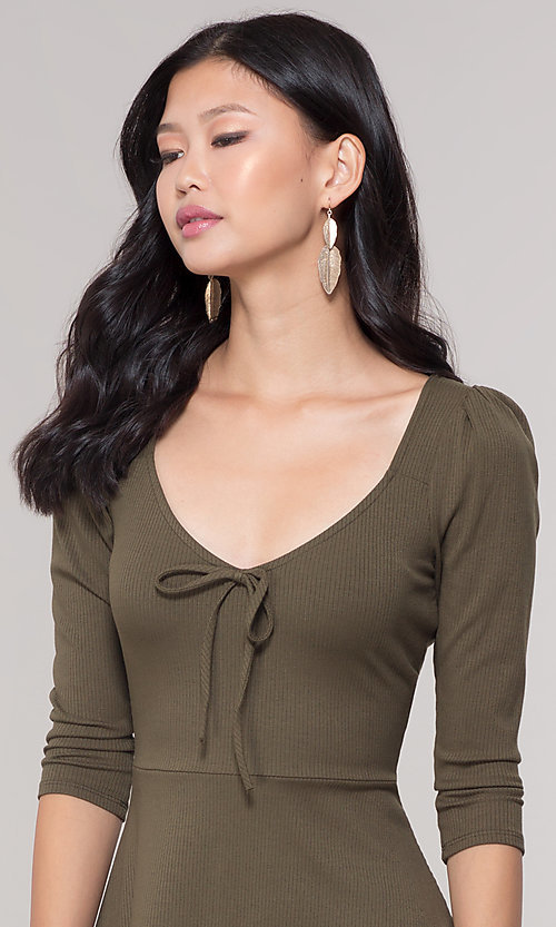 Image of short 3/4-sleeve olive green v-neck party dress. Style: BLU-BD9224 Detail Image 1