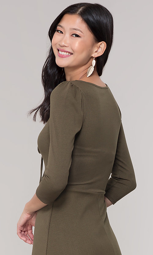 Image of short 3/4-sleeve olive green v-neck party dress. Style: BLU-BD9224 Detail Image 2