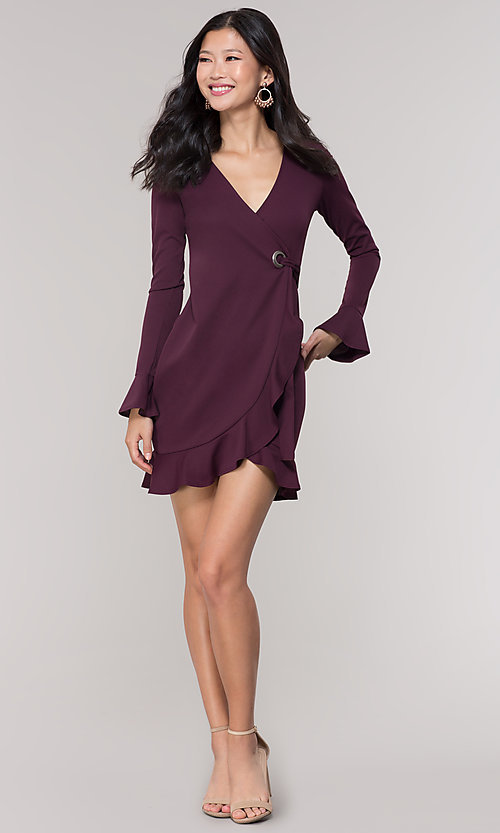 Image of short wrap long-sleeve party dress. Style: BLU-BD9316 Detail Image 3