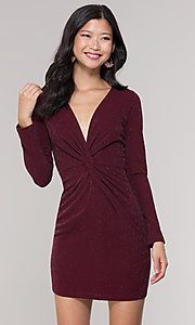 Image of v-neck long-sleeve short holiday party dress. Style: BLU-BD9376 Front Image