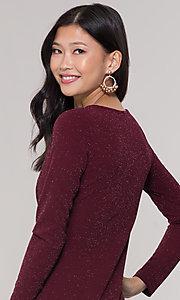 Image of v-neck long-sleeve short holiday party dress. Style: BLU-BD9376 Detail Image 2