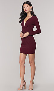 Image of v-neck long-sleeve short holiday party dress. Style: BLU-BD9376 Detail Image 3