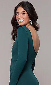 Image of short holiday party scoop-neck long-sleeve dress.  Style: BLU-BD9400 Detail Image 2