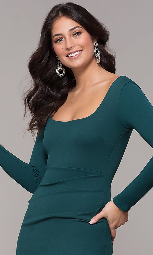 Image of short holiday party scoop-neck long-sleeve dress.  Style: BLU-BD9400 Detail Image 1