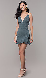 Image of short v-neck ruffled-hem holiday party dress. Style: BLU-BD9403 Detail Image 3