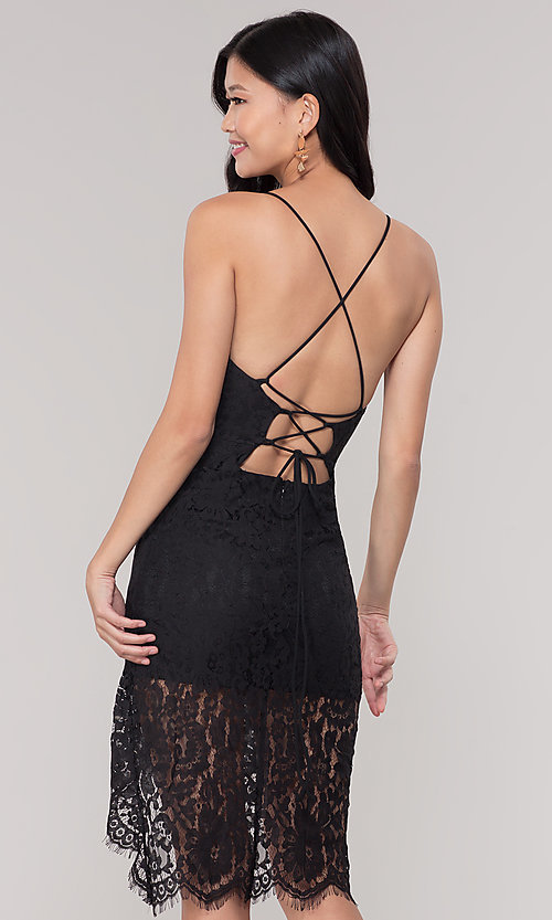 Image of asymmetrical-hem v-neck lace black party dress. Style: BLU-IBD9477 Back Image
