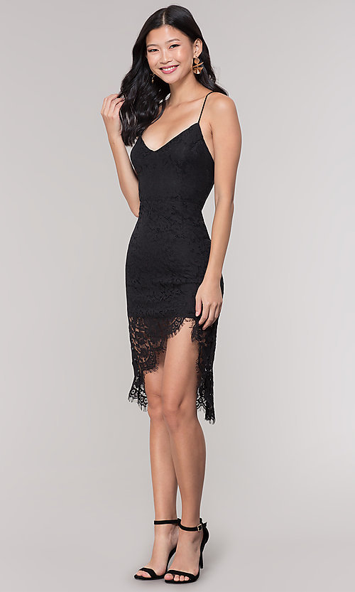 Image of asymmetrical-hem v-neck lace black party dress. Style: BLU-IBD9477 Detail Image 3