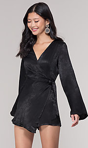 Image of black short mock-wrap romper for holiday parties. Style: BLU-IBR1481 Front Image