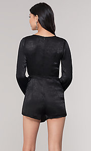 Image of black short mock-wrap romper for holiday parties. Style: BLU-IBR1481 Back Image