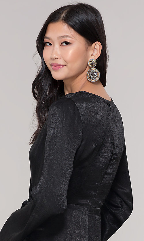 Image of black short mock-wrap romper for holiday parties. Style: BLU-IBR1481 Detail Image 2