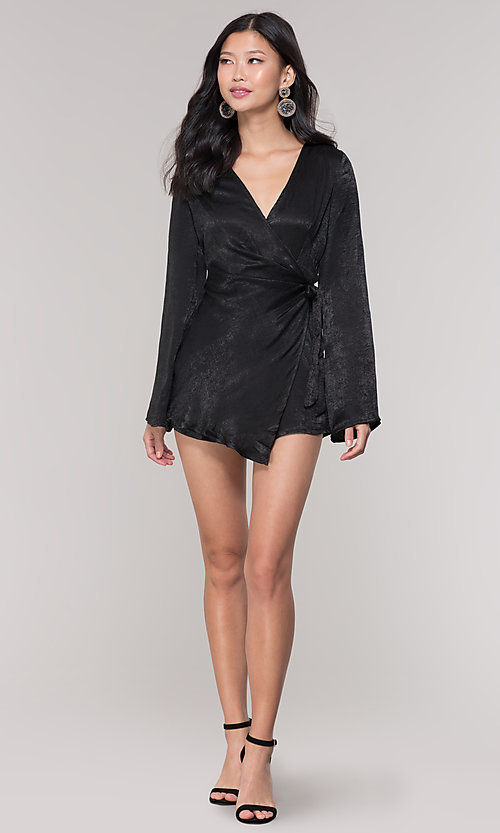 Image of black short mock-wrap romper for holiday parties. Style: BLU-IBR1481 Detail Image 3