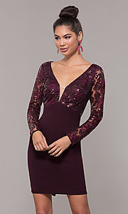 Image of empire-waist short long-sleeve prom dress. Style: SOI-S18199B51 Detail Image 4