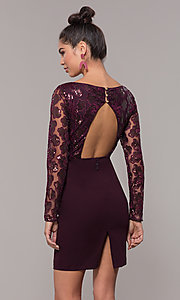 Image of empire-waist short long-sleeve prom dress. Style: SOI-S18199B51 Detail Image 5