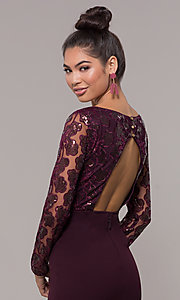Image of empire-waist short long-sleeve prom dress. Style: SOI-S18199B51 Detail Image 7