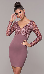 Image of empire-waist short long-sleeve prom dress. Style: SOI-S18199B51 Front Image