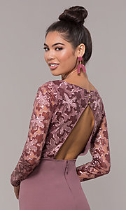 Image of empire-waist short long-sleeve prom dress. Style: SOI-S18199B51 Detail Image 2