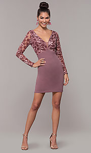 Image of empire-waist short long-sleeve prom dress. Style: SOI-S18199B51 Detail Image 3