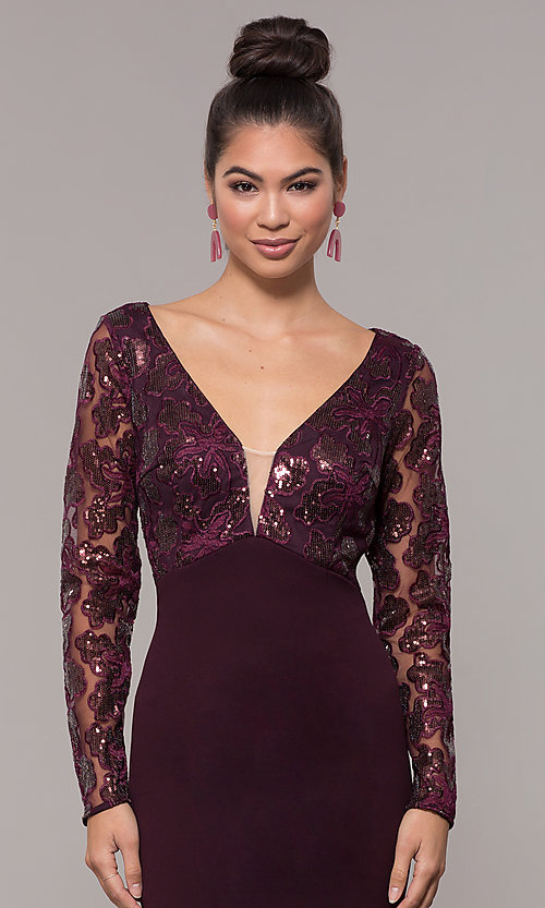 Image of empire-waist short long-sleeve prom dress. Style: SOI-S18199B51 Detail Image 6