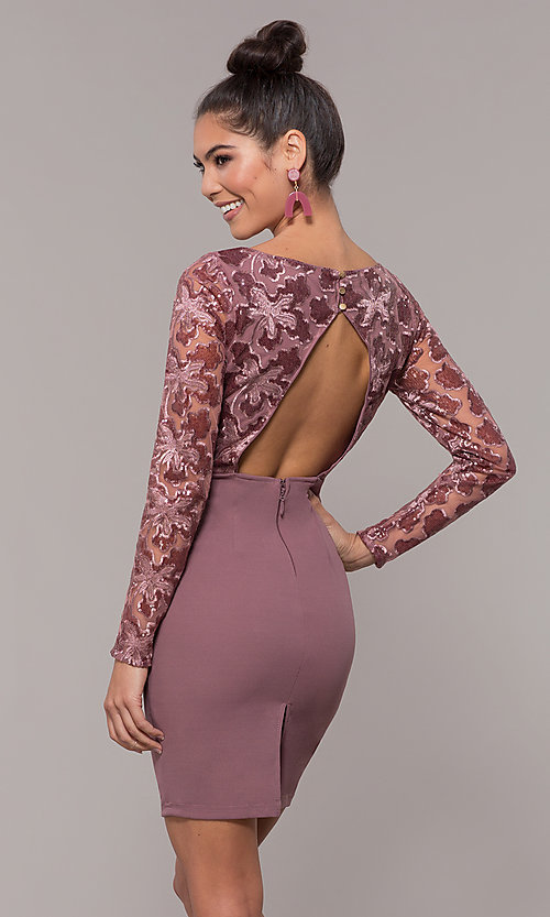Image of empire-waist short long-sleeve prom dress. Style: SOI-S18199B51 Back Image