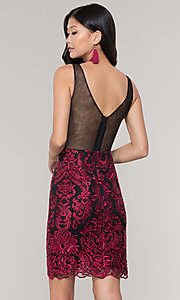 Image of sleeveless short print holiday party dress. Style: SOI-S18553B65 Detail Image 5