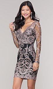 Image of long-sleeve v-neck embroidered holiday party dress. Style: SOI-S18450B58 Front Image