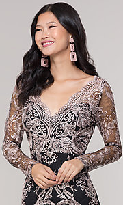 Image of long-sleeve v-neck embroidered holiday party dress. Style: SOI-S18450B58 Detail Image 1