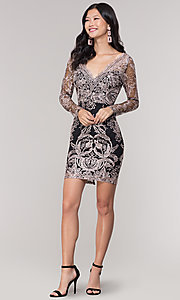 Image of long-sleeve v-neck embroidered holiday party dress. Style: SOI-S18450B58 Detail Image 3