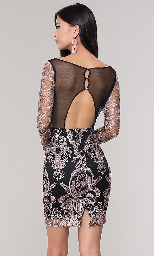Image of long-sleeve v-neck embroidered holiday party dress. Style: SOI-S18450B58 Back Image