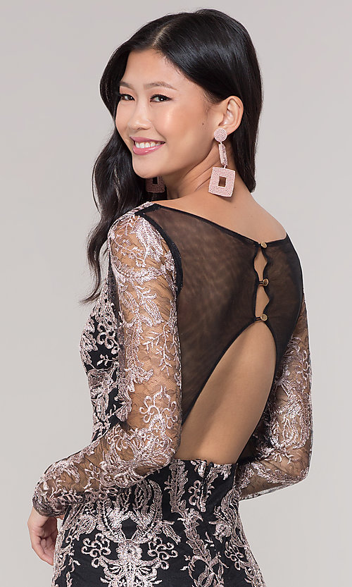 Image of long-sleeve v-neck embroidered holiday party dress. Style: SOI-S18450B58 Detail Image 2