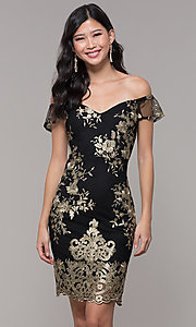 Image of short holiday party embroidered off-shoulder dress. Style: SOI-S18287 Front Image