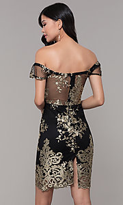Image of short holiday party embroidered off-shoulder dress. Style: SOI-S18287 Back Image