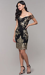 Image of short holiday party embroidered off-shoulder dress. Style: SOI-S18287 Detail Image 3