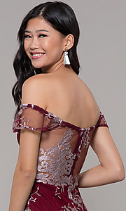 Image of short holiday party embroidered off-shoulder dress. Style: SOI-S18287 Detail Image 7