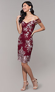 Image of short holiday party embroidered off-shoulder dress. Style: SOI-S18287 Detail Image 8