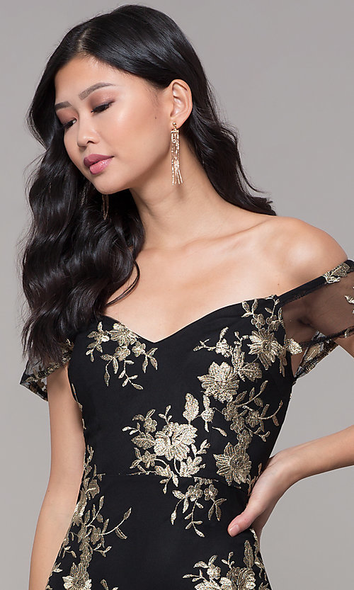 Image of short holiday party embroidered off-shoulder dress. Style: SOI-S18287 Detail Image 1