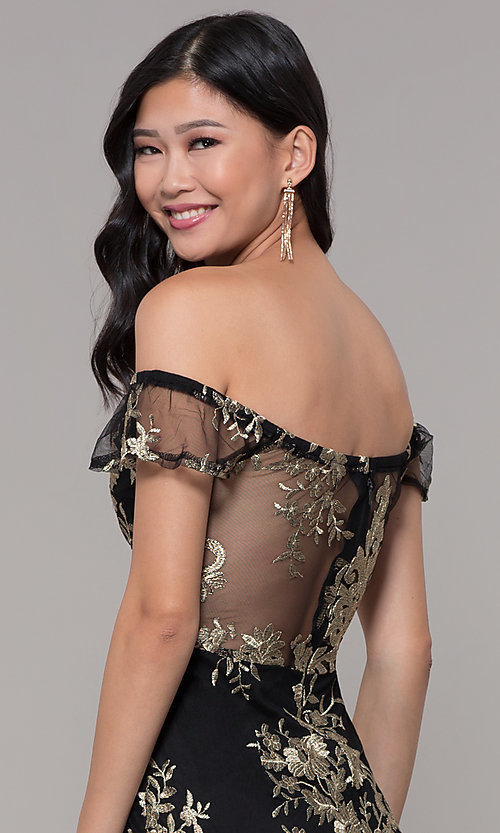 Image of short holiday party embroidered off-shoulder dress. Style: SOI-S18287 Detail Image 2