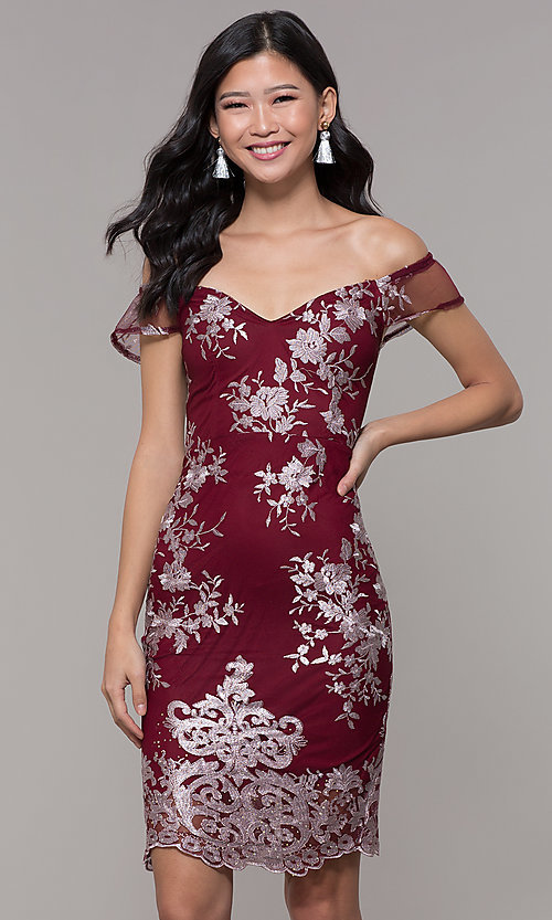 Image of short holiday party embroidered off-shoulder dress. Style: SOI-S18287 Detail Image 4