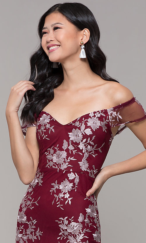 Image of short holiday party embroidered off-shoulder dress. Style: SOI-S18287 Detail Image 6