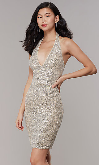 Short V-Neck Sequin Semi-Formal Prom Dress