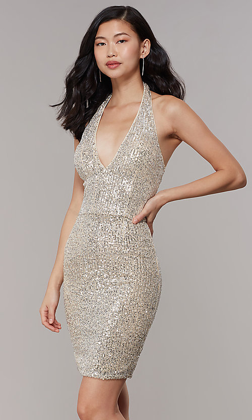 52cd5396b210 Short V-Neck Sequin Semi-Formal Prom Dress