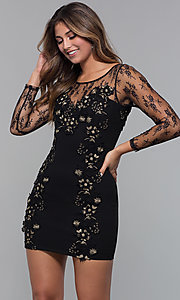 Image of long-sleeve lace-applique short party dress. Style: SOI-S18192 Detail Image 2