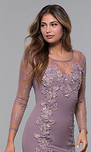 Image of long-sleeve lace-applique short party dress. Style: SOI-S18192 Detail Image 7