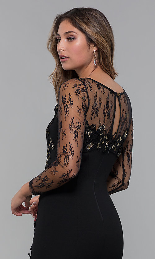 Image of long-sleeve lace-applique short party dress. Style: SOI-S18192 Detail Image 4