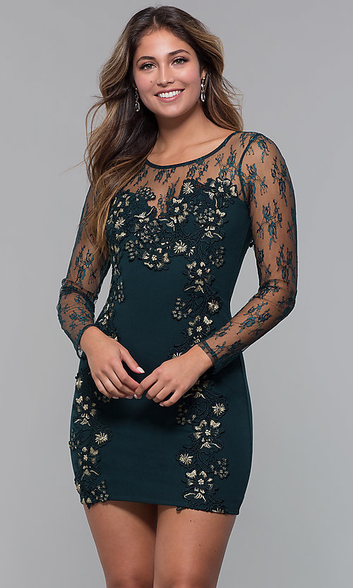 Image of long-sleeve lace-applique short party dress. Style: SOI-S18192 Front Image